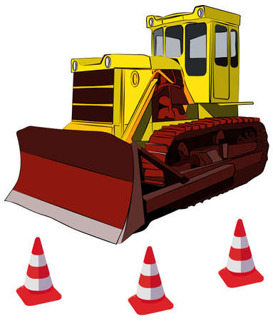 tractor warning: Bulldozer and road cones vector illustration, isolated on white