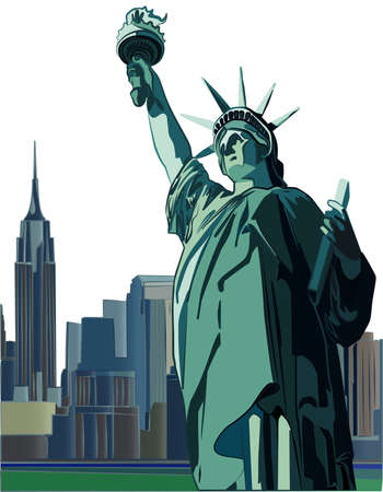 Statue of Liberty vector illustration. With New York City skyline vector illustration on the background on separate layer.
