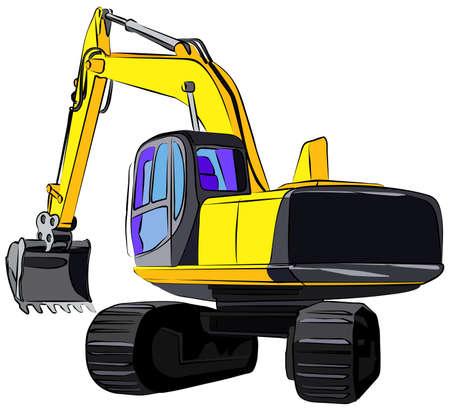 mining truck: Ilustración vectorial de excavadora de orugas, islotaed sobre fondo blanco Vectores