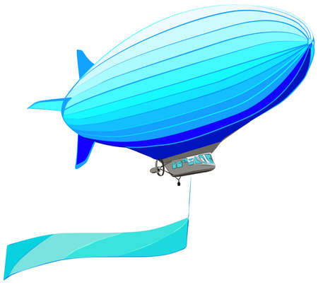 blimp: Airship with flag banner, vector illustration, isolated on while