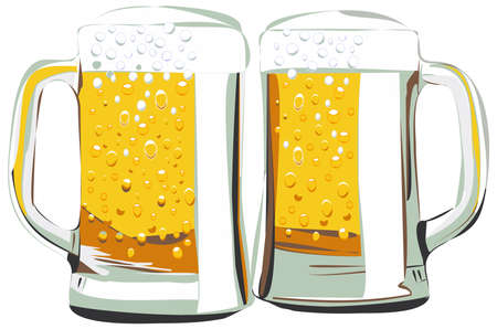 Beer mugs vector illustration, isolated on white
