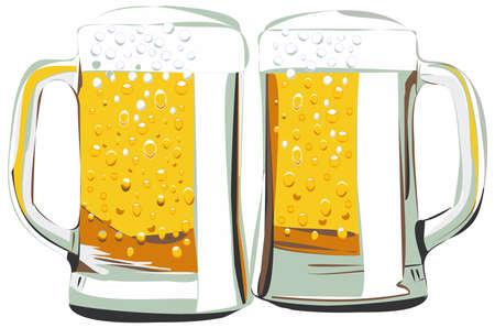 Tazas de cerveza ilustración vectorial, aislado en blanco Foto de archivo - 44055065