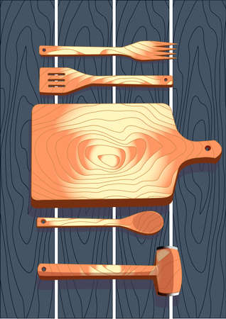 fork in path: Wooden cutlery, fork, spoon, cutting board, hammer, vector illustration