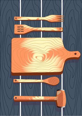 cutting board: Wooden cutlery, fork, spoon, cutting board, hammer, vector illustration