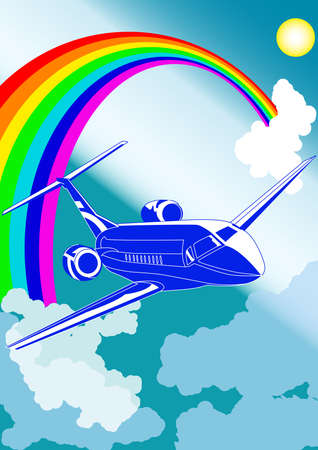 private jet: Private jet plane, with cloudy sky and rainbow on background, vector illustration