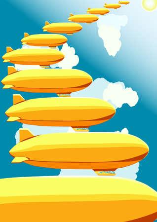 stairway: Airships, stairway in the sky, vector illustration