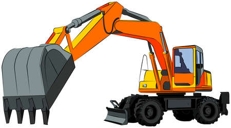 construction machinery: Wheeled excavator, isolated on white, vector illustration