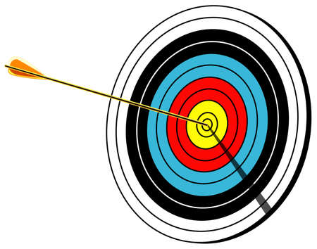 midsection: Archery target with arrow in center, Bullseye shot, isolated on white, vector illustration
