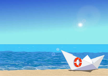 Paper boat with rescue circle, on beach sand, ocean and sun on the background, vector illustration