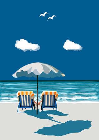 spiaggia: Coppie che si siedono sulle sedie a sdraio sulla spiaggia, mano nella mano, sotto l'ombrello, in vacanza, illustrazione vettoriale Vettoriali