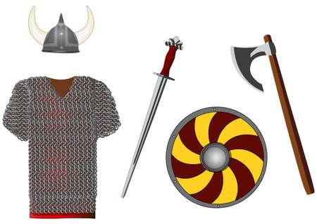 vikingo: Armas y armaduras conjunto de vikingo, aislado en blanco, ilustración vectorial Vectores