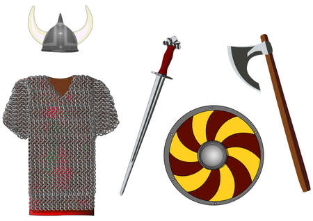 crusades: Weapons and armors set of viking, isolated on white, vector illustration Illustration