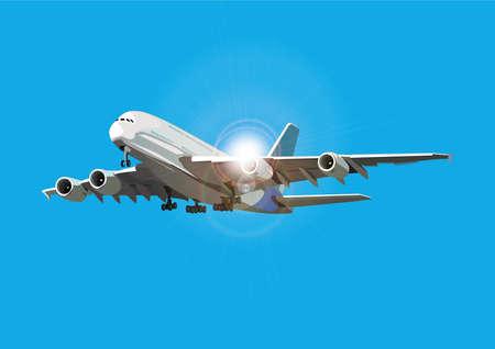Airliner fliegen gegen die Sonne, Vektor-Illustration, Flugzeug auf separaten Ebene