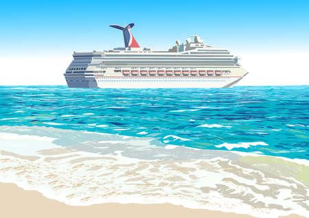 クルーズ船やトロピカルなビーチ、ベクトル イラスト