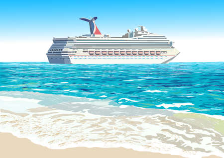 Cruise ship and tropical beach, vector illustration Illusztráció