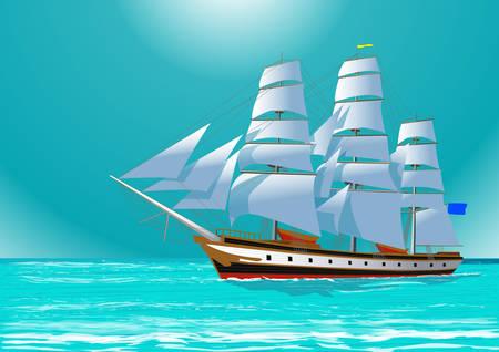Clipper żeglarstwo żaglowiec na morzu, ilustracji wektorowych Ilustracje wektorowe