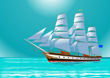 ships: Clipper sailing tall ship in the sea, vector illustration