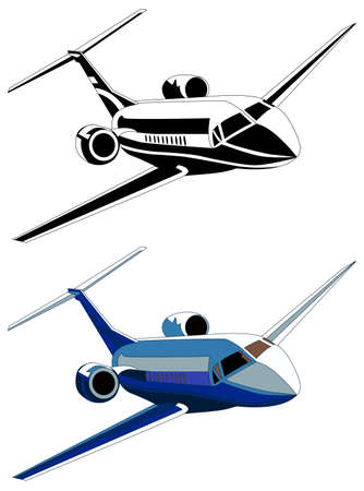private jet: Private jet, vector illustration, isolated on white, color and grayscale