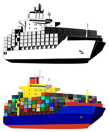 a big ship: Container ship, colored, black and white, isolated on white, vector illustration Illustration