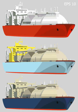 natural gas: LNG tankers, gas carrier ships, isolated on grey, set of three, vector illustration Illustration