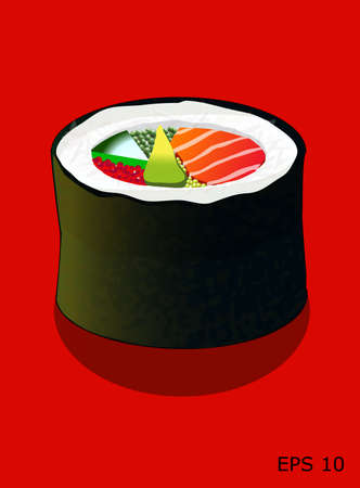 soy sauce: Futomaki sushi roll, with salmon, caviar, cucumber and avocado, isolated on red, all objects on different layers, vector Illustration