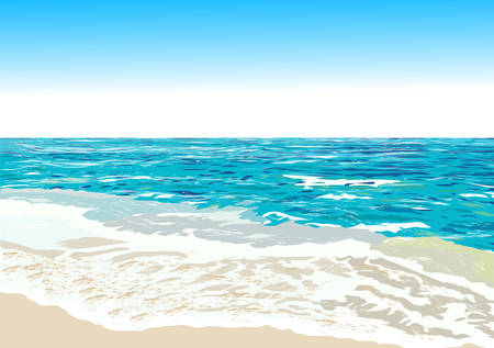 panoramic beach: Ocean shore, beach, vector illustration Illustration