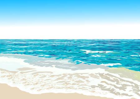 Orilla del océano, playa, ilustración vectorial Foto de archivo - 47725529