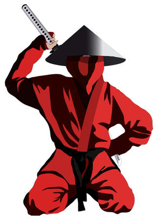 karate kick: Ninja in the red uniform, isolated on white, vector illustration