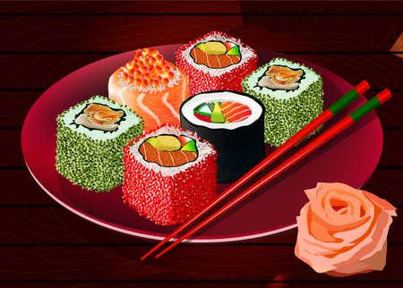plato de comida: rollos de sushi con caviar, pez rojo y el calamar en la placa, con el jengibre y los palillos. Ilustración del vector. Todos los artículos están en capas separadas