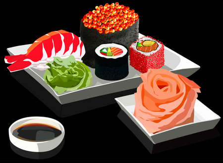 soy sauce: Sushi set on square plates, with ginger and soy sauce. On a black background. Vector illustration Illustration