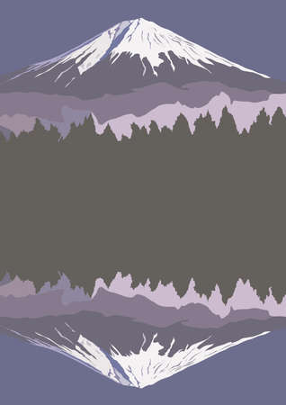 snowcapped landscape: Fujiyama, Mount Fuji, with reflection in lake, vector illustration