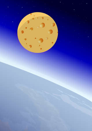 gouda: Moon in the form of cheese, with Earth and Space on the background, vector illustration Illustration