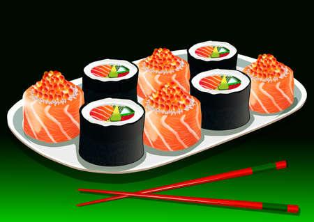 porcelain plate: Sushi set with chopsticks on a white porcelain plate, vector illustration Illustration