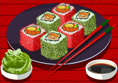 sushi  plate: Sushi with caviar and salmon, on the plate, with soy sauce and wasabi, vector illustration. All items on separate layers Illustration