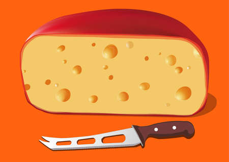 Cheese with Knife for cheese, vector illustration