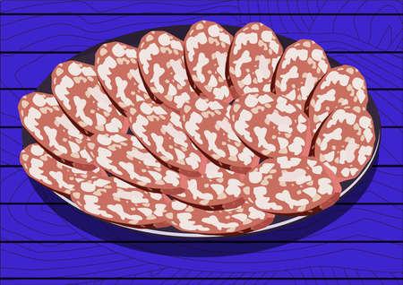 fiambres: Salami en el plato, sobre fondo azul. ilustración vectorial