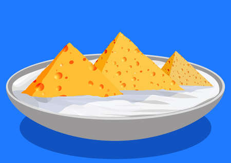 khafre: Cheese in the form of the Egyptian pyramids, in a saucer with sour cream, vector llustration Illustration