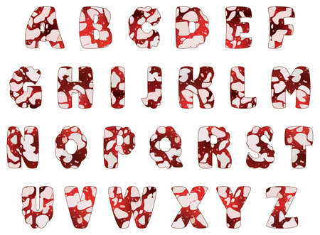 Alphabet of salami sausage, vector illustration, isolated on white