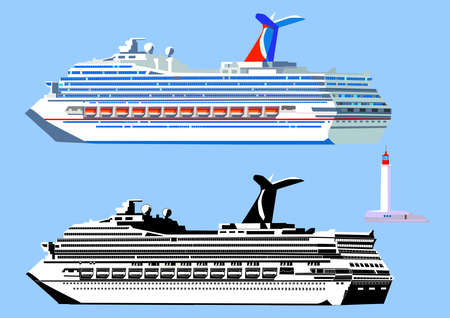 Cruise ship, high detail, black-and-white and color. Isolated on white, vector illustration Ilustração