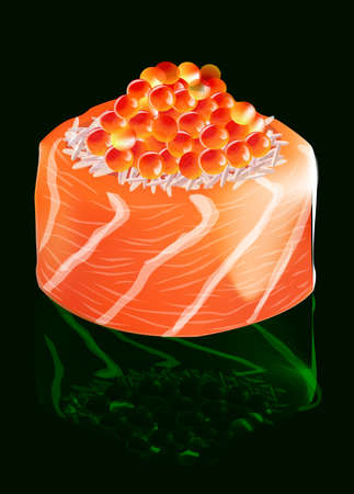 salmon: Sushi with salmon and red caviar, on a black background, with emerald reflection, vector illustration Illustration