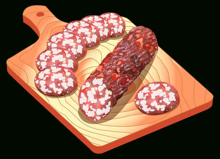 Salami on a cutting board, isolated on black, vector illustration. All elements are located on separate layers