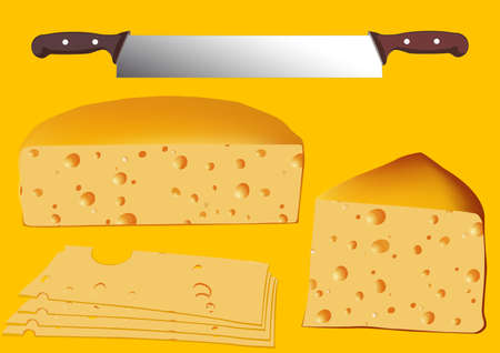 europe closeup: Set of cheese, with twin knife, vector illustration