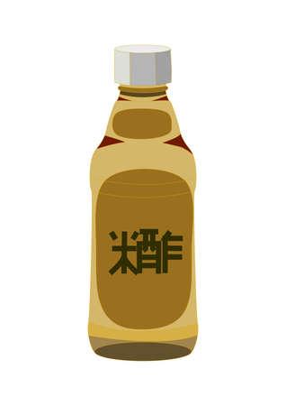 vinegar bottle: Bottle of rice vinegar for sushi, isolated on a white. illustration