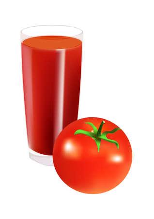tomato juice: Glass of tomato juice and tomato, isolated on white. illustration Illustration