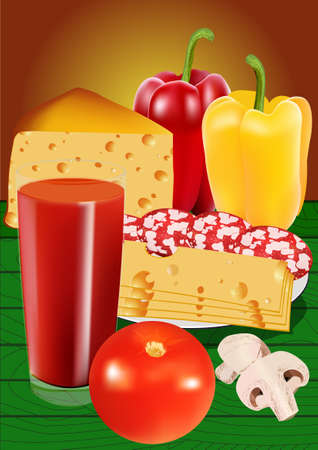 tomato slice: Food set. Tomato juice, salami, peppers, mushrooms and cheese. illustration. All elements on separate layers.
