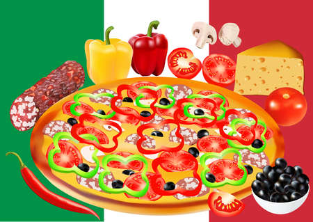Pizza and different ingredients. Flag of Italy on the background. illustration on the background of the flag of Italy. All elements are located on the isolated layers Illustration