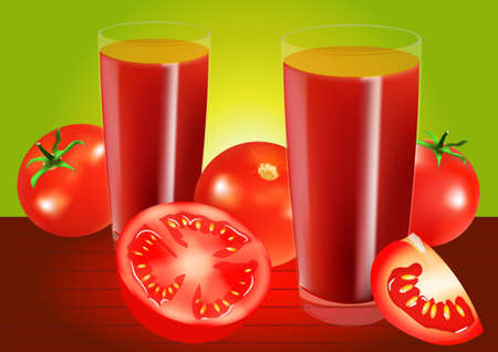 tomato juice: Two glasses of tomato juice and tomatoes on a green background. illustration. All elements on a separate layers