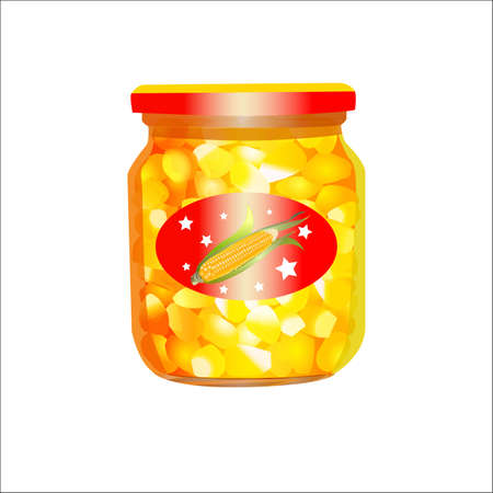 leaf close up: Canned corn in the glass jar with sticker, isolated on white. Vector illustration. All objects are on isolated layers