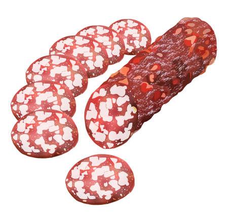 salami: Palillo de salami, salchichas, aislado en fondo blanco, ilustración vectorial