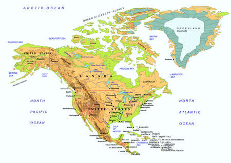 geographical locations: North America physical map, with names of geographical objects. illustration. Isolated.